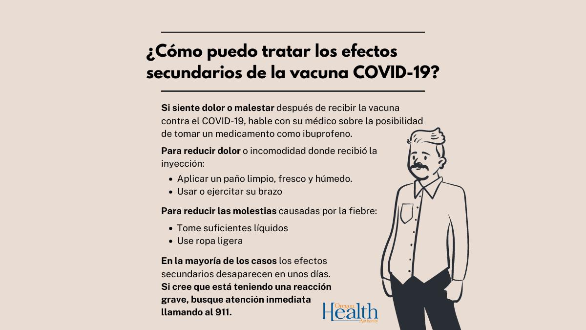 ¿Cómo tratar los efectos secundarios de la vacuna contra el COVID-19?
