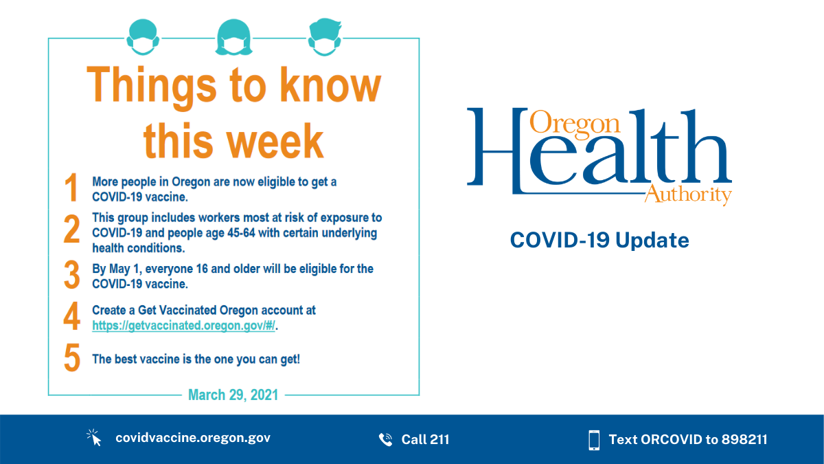 Things to know for the week of March 29: Vaccine eligibility expands to Group 6