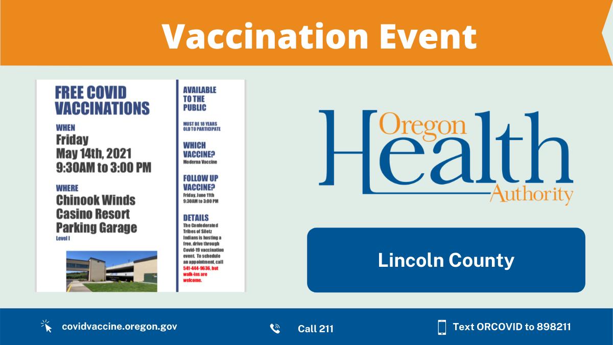 Vaccination clinic at Chinook Winds Casino Friday, May 14