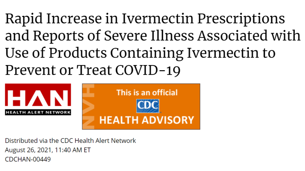 CDC warns against the use of ivermectin to treat or prevent COVID-19