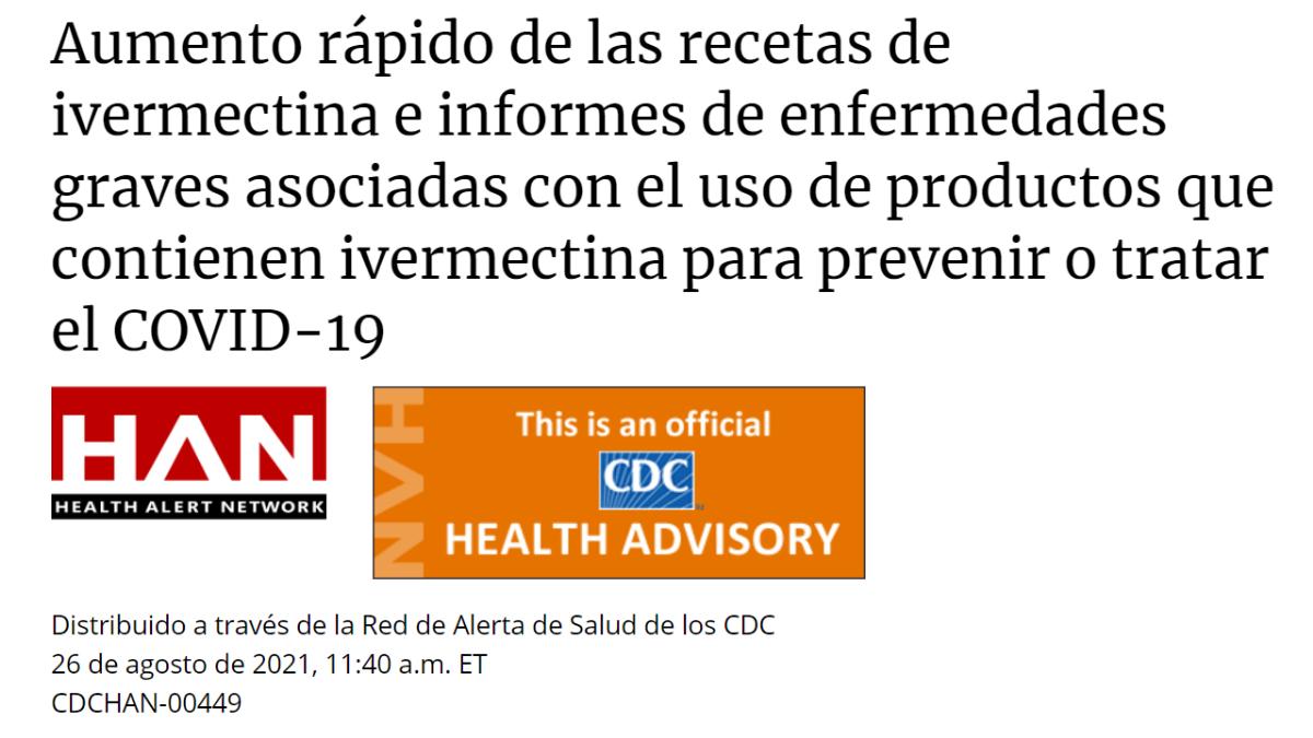 Los CDC advierten contra el uso de ivermectina para tratar o prevenir COVID-19